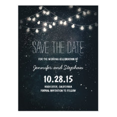 string lights save the date with starry night sky post cards