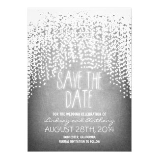 string lights shine rustic save the date cards