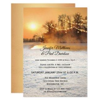 String Lights Snow Winter After Wedding Invitation