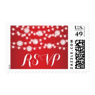 String lights & snowflakes red wedding RSVP Postage