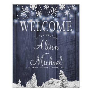 String lights snowflakes wedding welcome sign