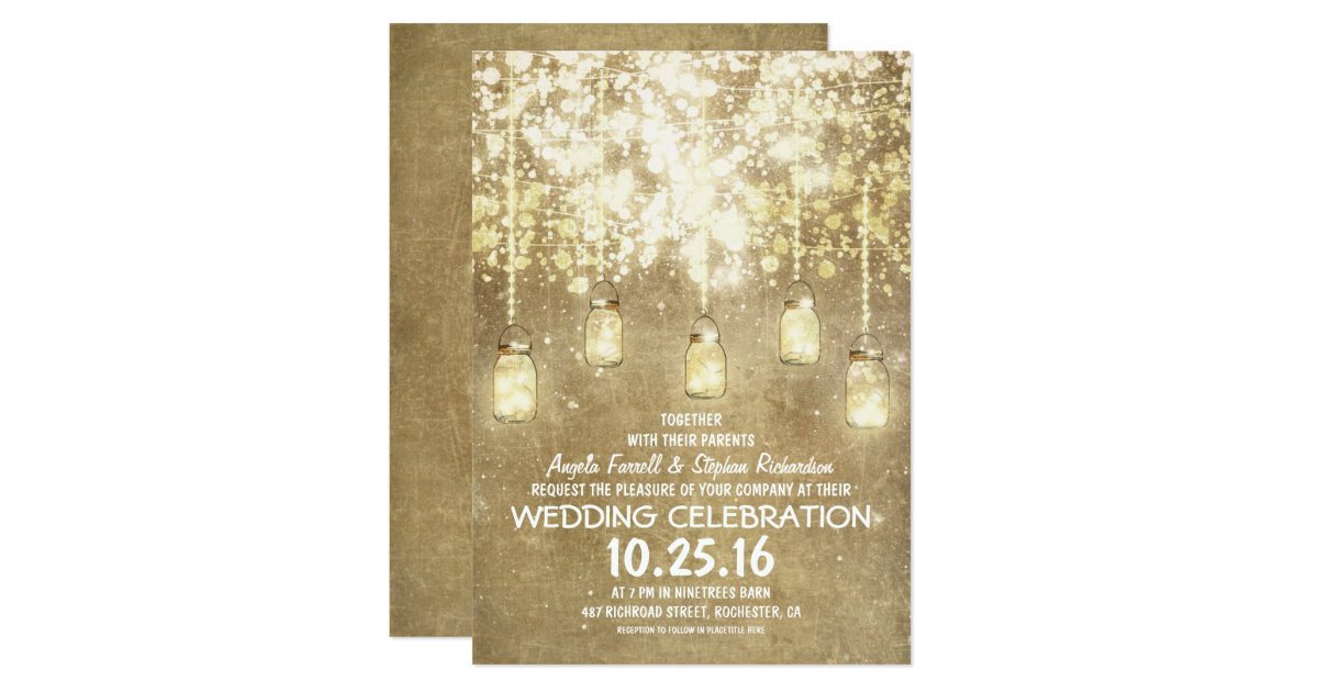 String Of Lights Mason Jars Vintage Wedding : String lights sparkly mason jars wedding invites Zazzle