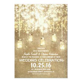 String lights sparkly mason jars wedding invites 5