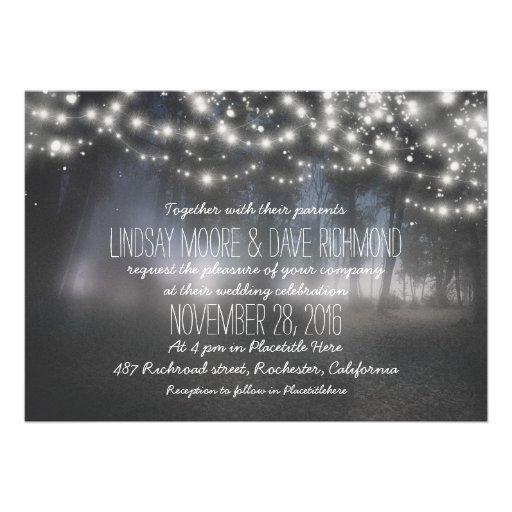 String Lights Wedding Invitation : string lights sparkly rustic wedding invitation 5