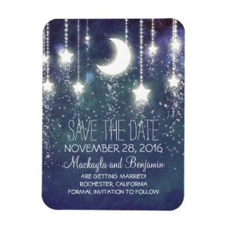 String Lights Stars and Moon Save The Date Rectangular Photo Magnet