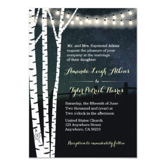 String Lights Stars Birch Tree Wedding Invitations