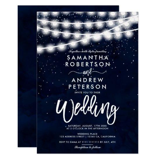 String lights stars navy blue watercolor wedding invitation