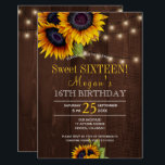 "String lights sunflowers chic rustic sweet sixteen invitation<br><div class=""desc"">Floral elegant fall sweet sixteen / 16th birthday party invitation template on maroon dark brown barn wood featuring bouquets of yellow golden sunflowers and string twinkle lights. Fill in your information in the spots, You can choose to customize it further changing fonts and colors of lettering. ---- The invitation is...</div>"