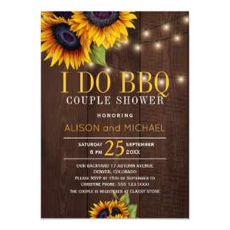 String lights sunflowers i do bbq couple shower invitation