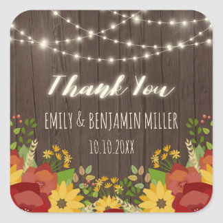String Lights & Sunflowers Rustic Thank You Square Sticker