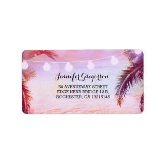 String Lights Sunset Beach Purple Wedding Label