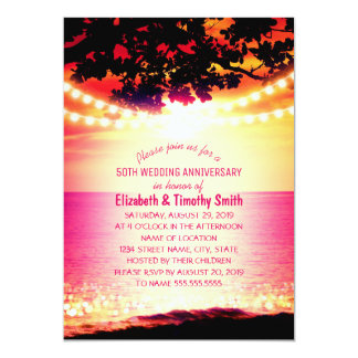 String lights Sunset Beach Wedding Anniversary Card