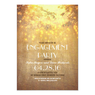 String Lights Tree Branch Rustic Engagement Party Card