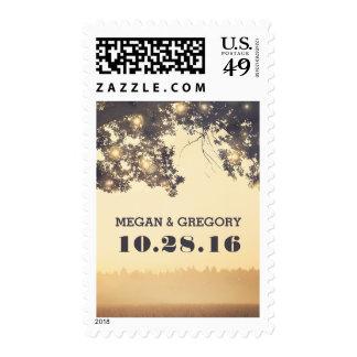 String Lights Tree Branches Wedding Postage Stamp