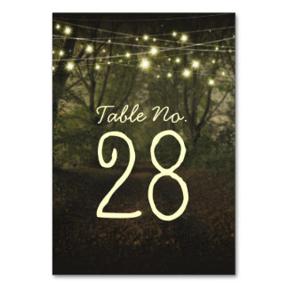 String lights tree path romantic table number card table cards