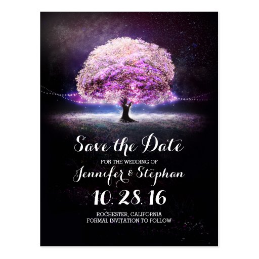String Lights Save The Date : String lights tree romantic save the date postcard Zazzle