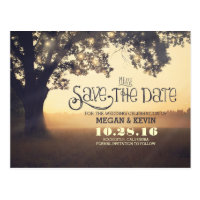 String lights tree romantic save the date postcard
