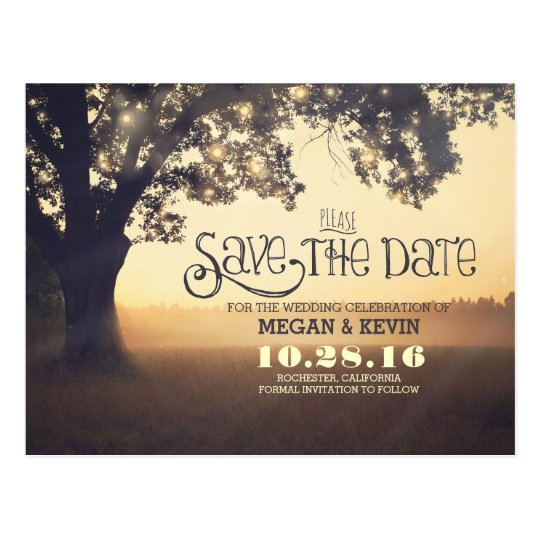 What Are Save The Date Cards: String Lights Tree Romantic Save The Date Postcard