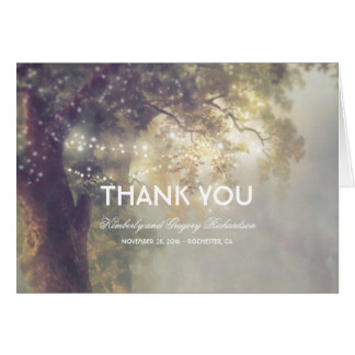 String Lights Tree Rustic Dreamy Wedding Thank You Card