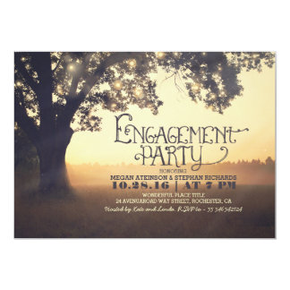 string lights tree rustic engagement party invite