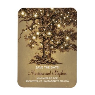 String Lights Tree Rustic Save The Date Magnet