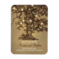String Lights Tree Rustic Save The Date Magnet at Zazzle