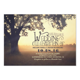 string lights tree rustic wedding invitation at Zazzle
