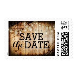 String Lights Tree Vintage Barn Wood Save the Date Postage Stamp