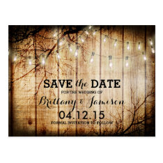 String Lights Tree Vintage Barn Wood Save the Date Postcard at Zazzle