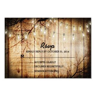 String Lights Tree Vintage Barn Wood Wedding RSVP Card