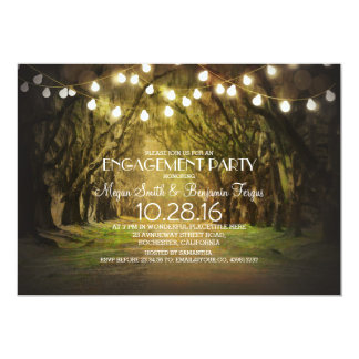 String Lights Trees Path Rustic Engagement Party Card