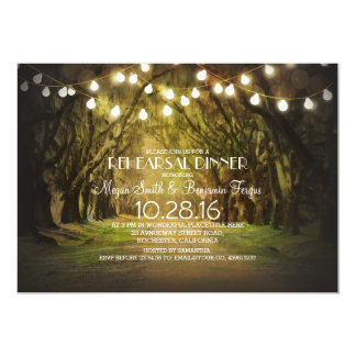 String Lights Trees Path Rustic Rehearsal Dinner Card