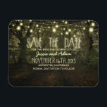 """String lights trees path rustic save the date magnet<br><div class=""""desc"""">Beautiful rustic and romantic tree path and string of lights save the date magnet</div>"""