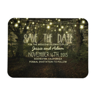String lights trees path rustic save the date rectangular photo magnet