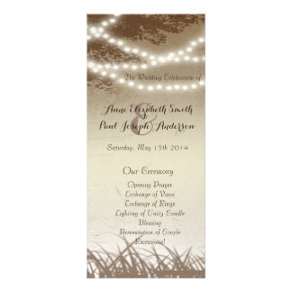 String lights trees wedding program
