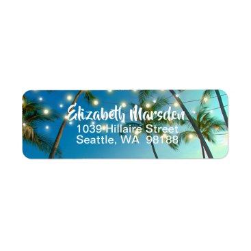 Hawaiian Themed String Lights Tropical Beach Label