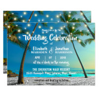 String Lights Tropical Beach Modern Wedding Invitation