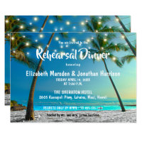 String Lights Tropical Beach Rehearsal Dinner Invitation