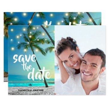 Hawaiian Themed String Lights Tropical Beach Save The Date Photo Card