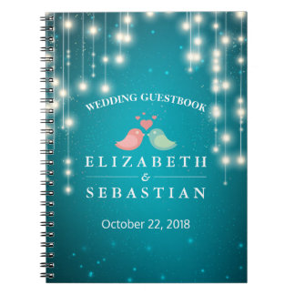 String Lights Turquoise Glitter Wedding Guestbook Notebook