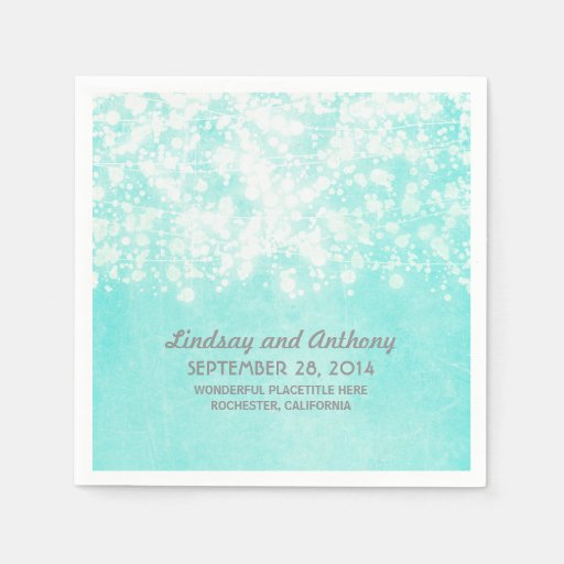 Tiffany Blue String Lights : string lights vintage tiffany blue wedding napkin Zazzle