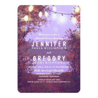 String Lights Waterfront Rustic Rehearsal Dinner Card