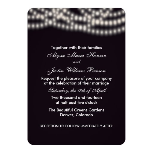 String Lights Wedding Invitation Zazzle