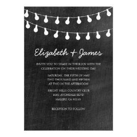 String Lights Wedding Invitations Custom Announcement