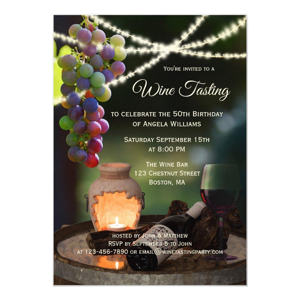 String Lights Wine Tasting Party Invitation