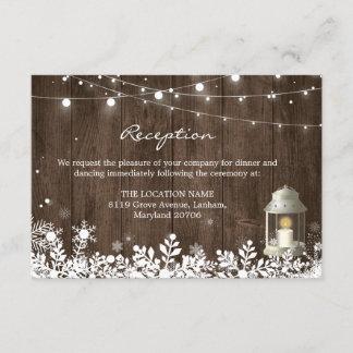 String Lights Winter Wedding Reception Details Enclosure Card