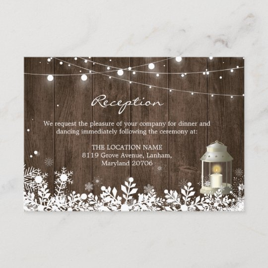 String Lights Winter Wedding Reception Details Enclosure Card
