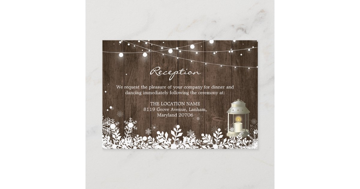 String Lights Winter Wedding Reception Details Enclosure Card | Zazzle com
