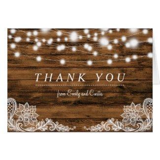 String Lights Wood and Lace Thank You Card