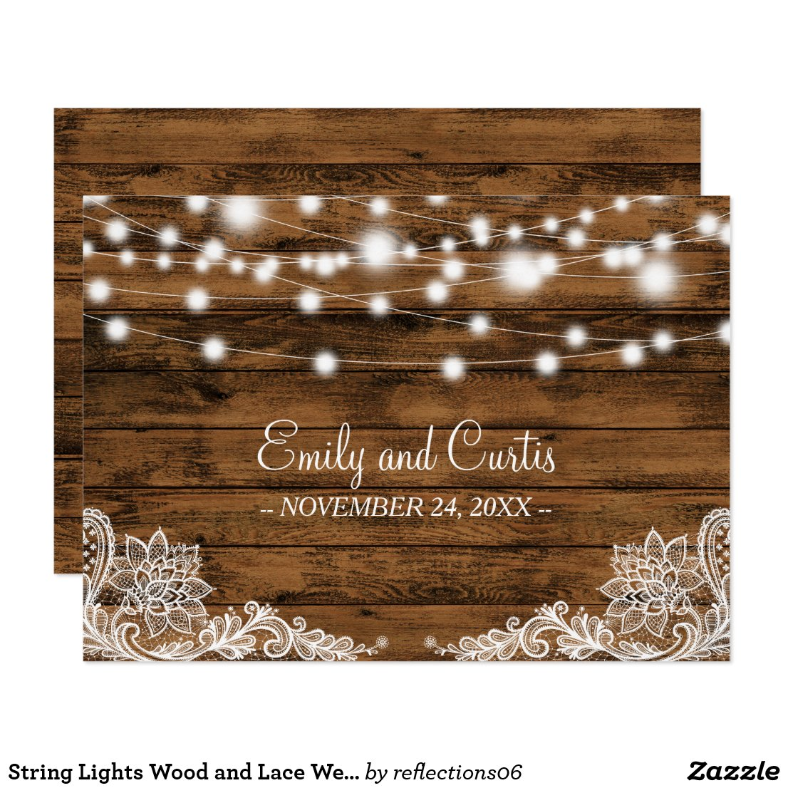 String Lights Wood and Lace Wedding Favor Card